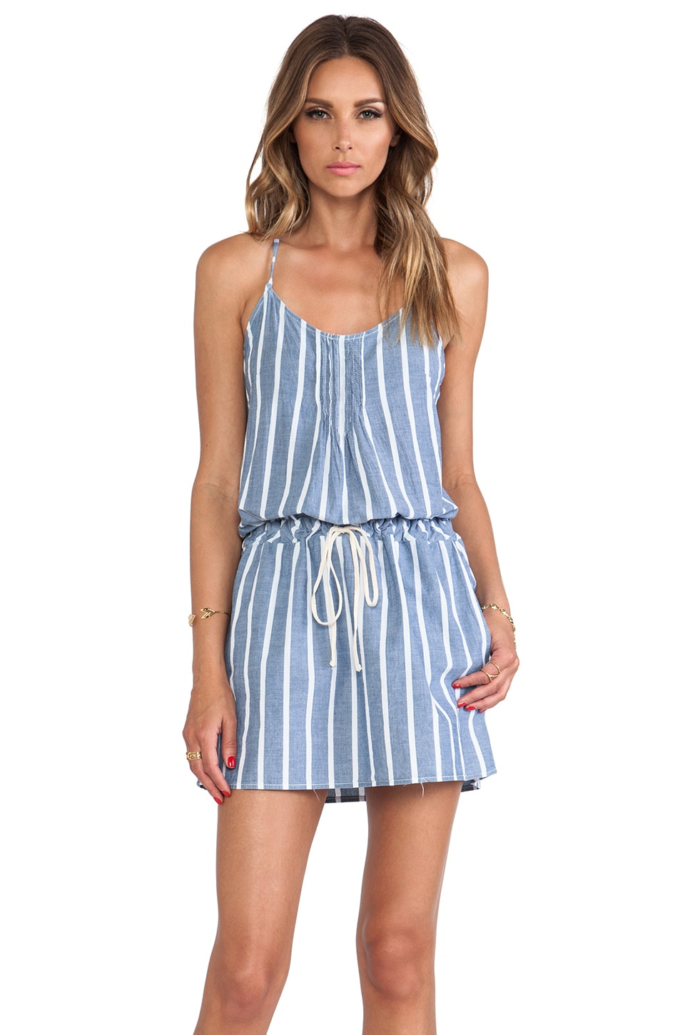 C&C California Wide Stripe Chambray Sundress in Chambray Multi