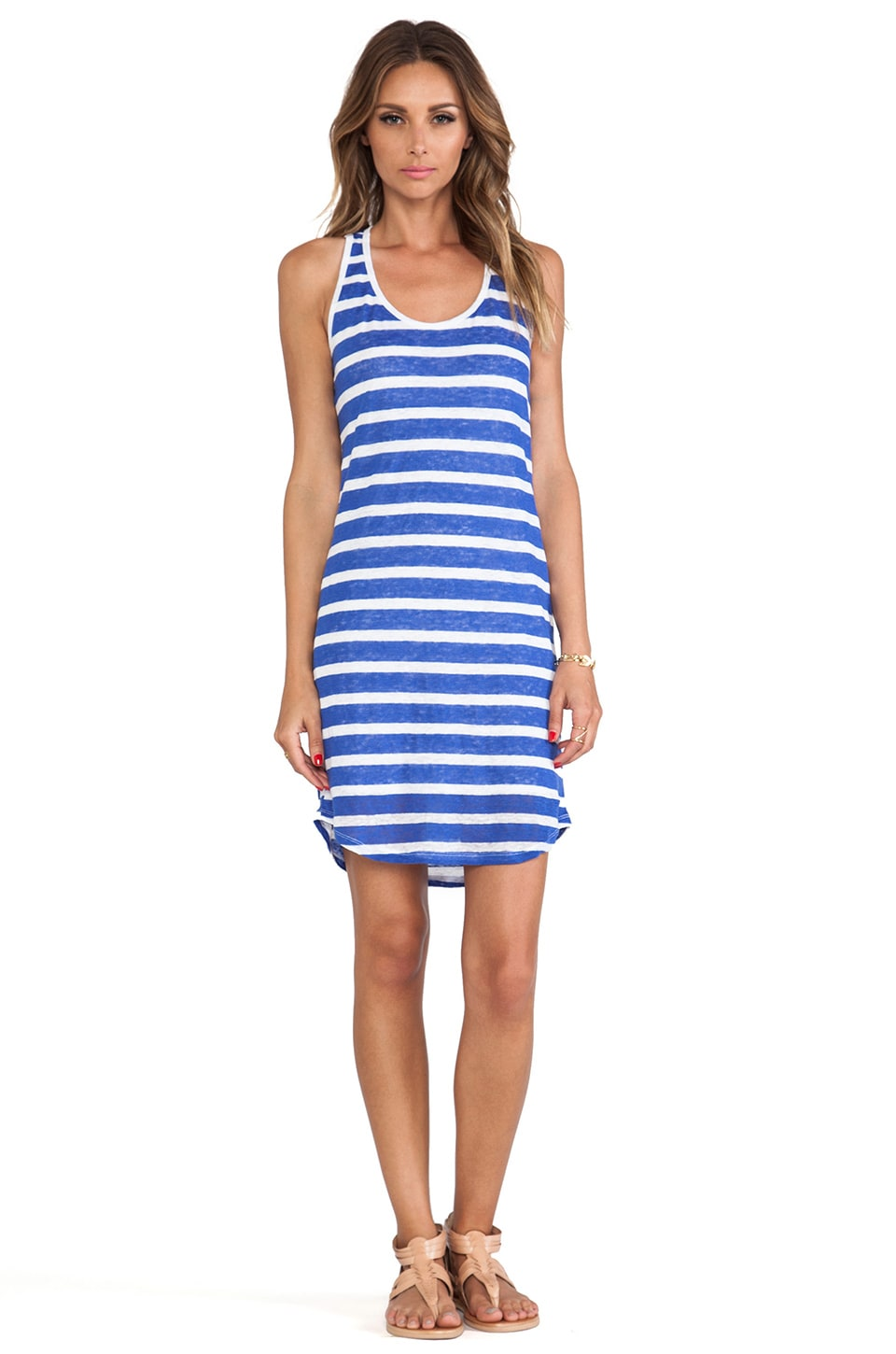 C&C California Striped Tank Dress in Dazzling Blue