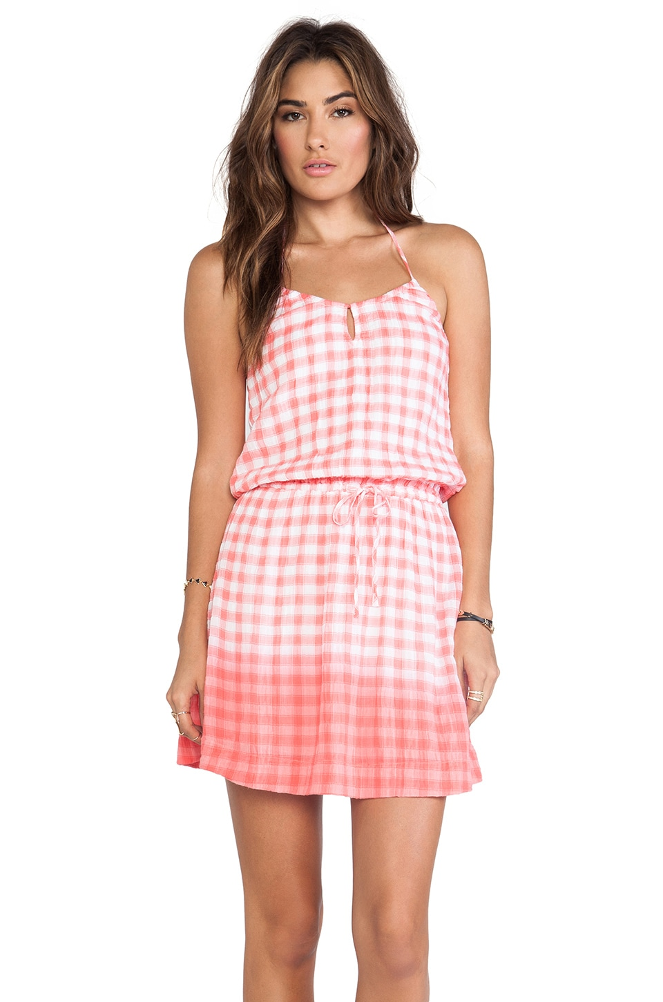 C&C California Dip Dye Gingham Dress in Gumball Pink