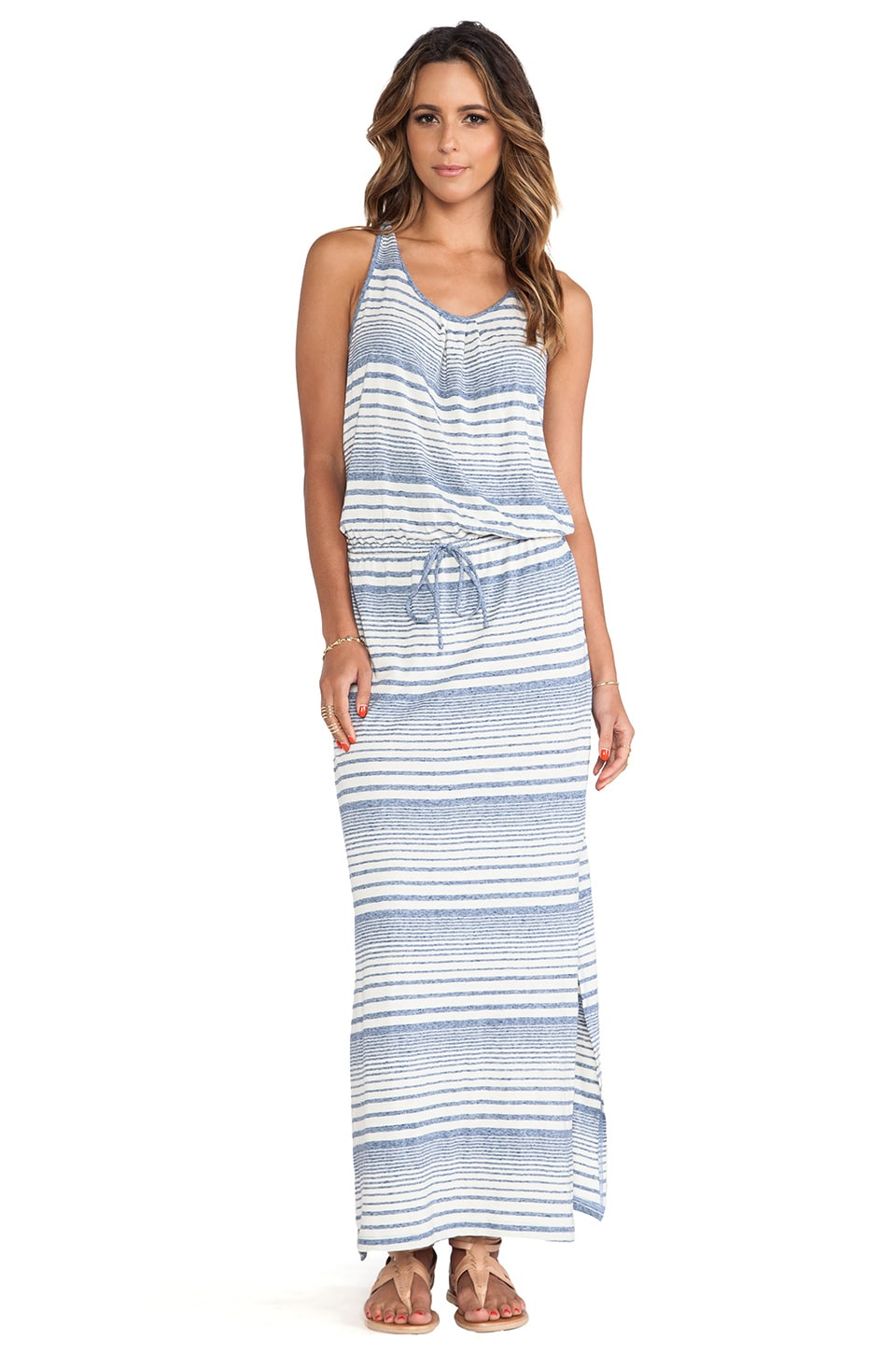 C&C California Variegated Striped Maxi Dress in Limoges