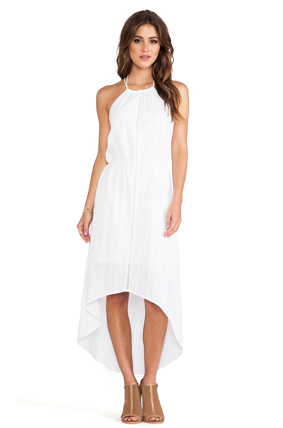 C&C California Asymmetric Hem Halter Dress in White