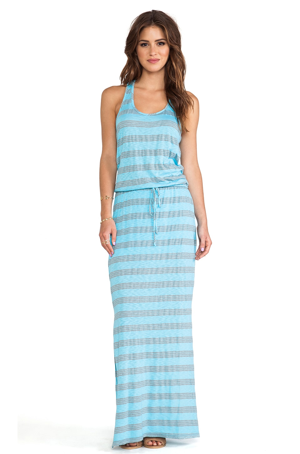 C&C California Striped Maxi Dress in Scuba Blue