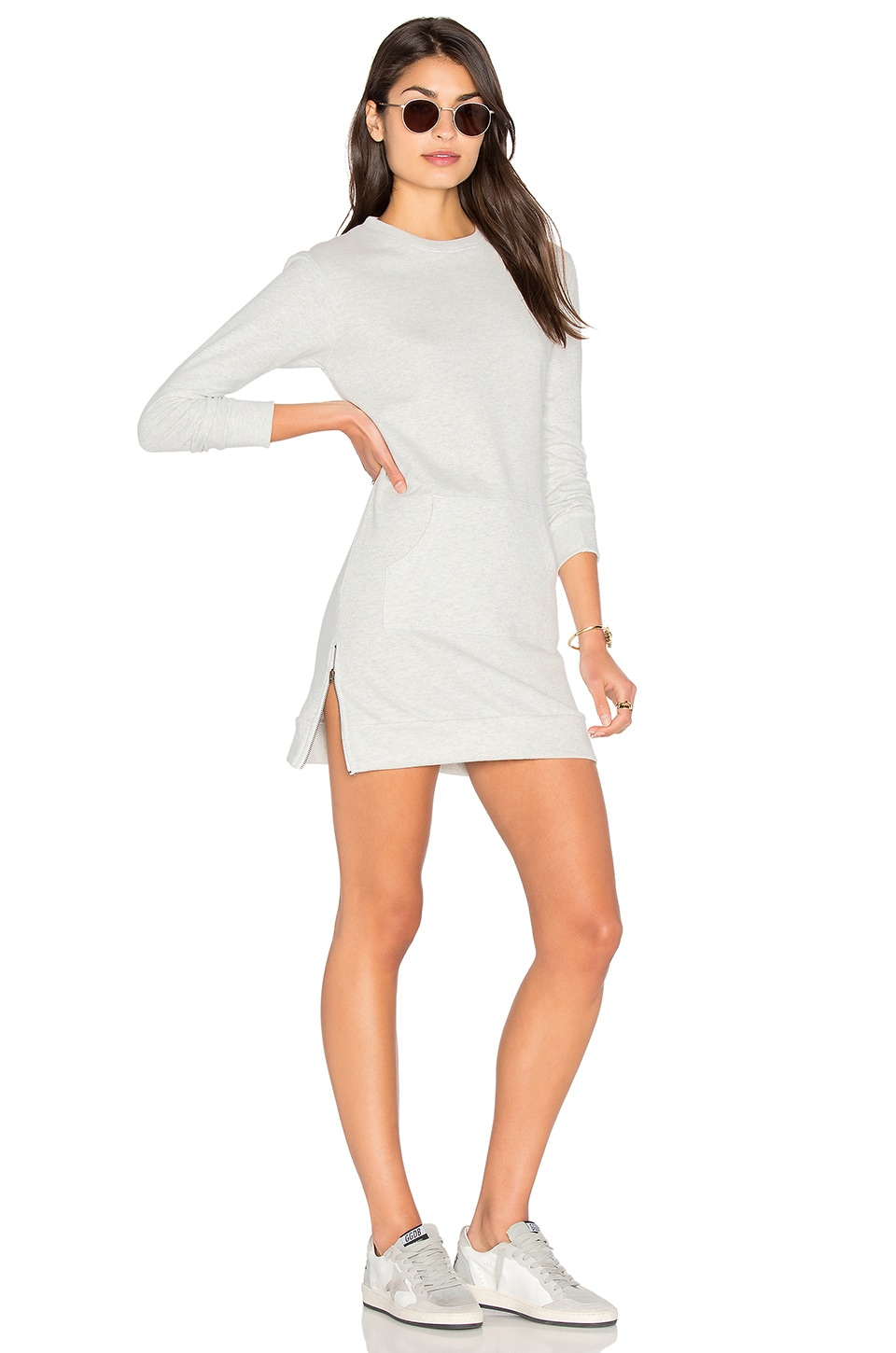 C&C California Marlow Sweatshirt Dress in Pale Heather Grey