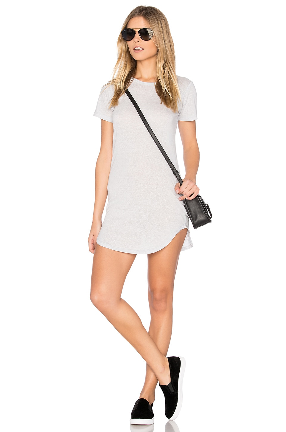 C&C California Adelise T Shirt Dress in Heather Grey