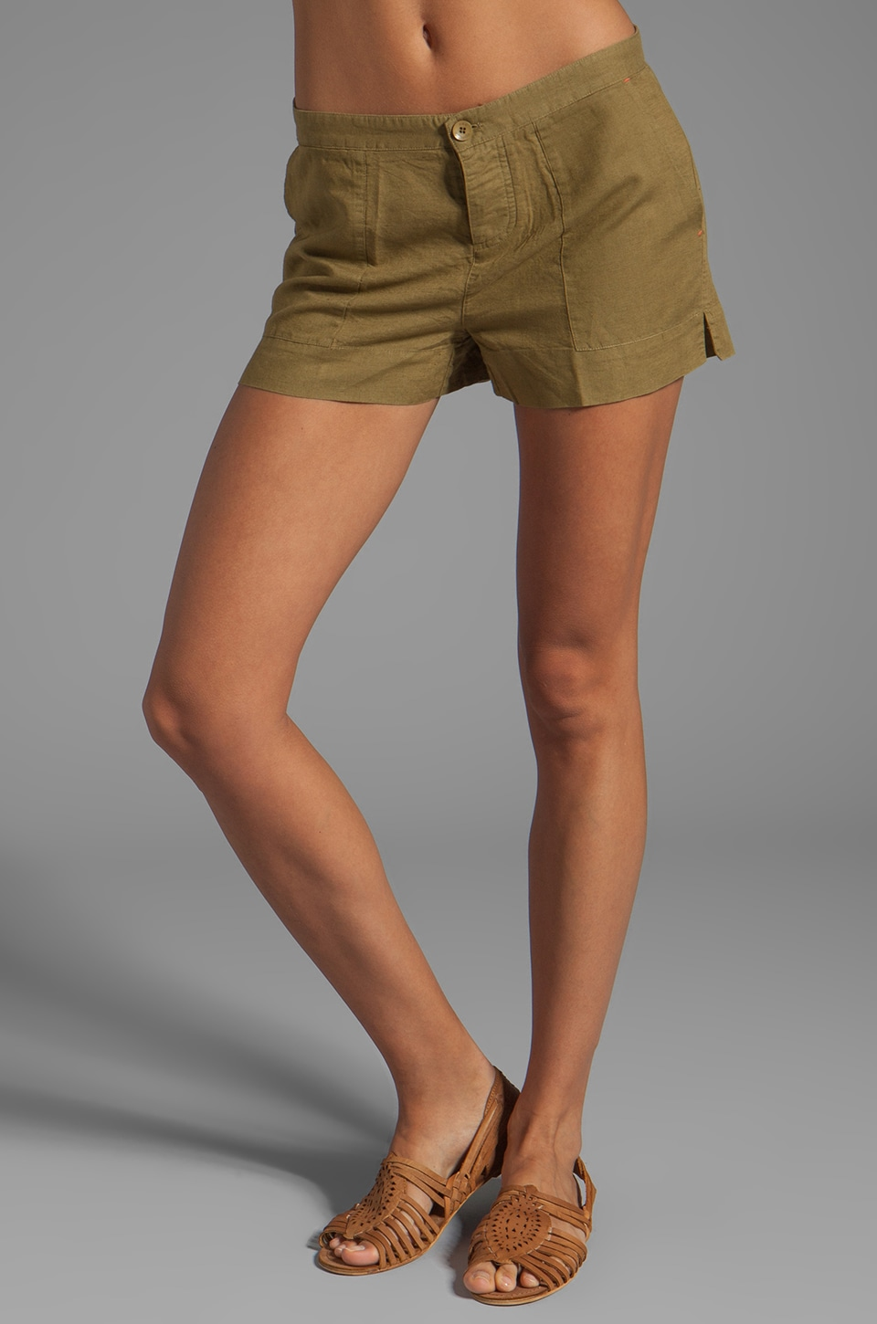 C&C California Linen Cotton Solid Linen Short in Nutria