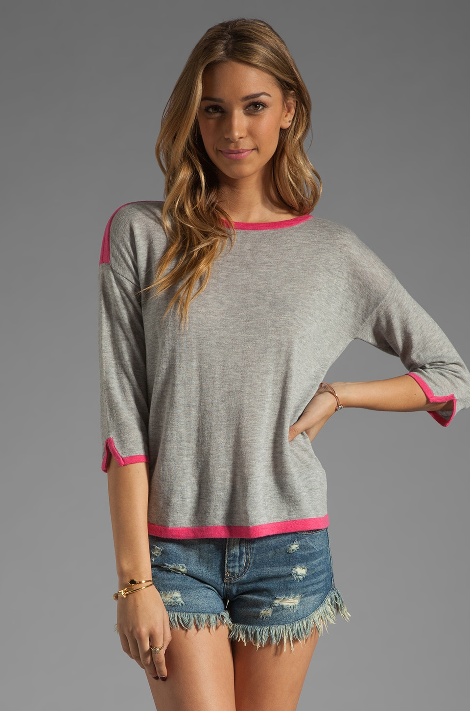 C&C California 3/4 Sleeve Boat Neck Sweater in Heather Grey/Fuchsia
