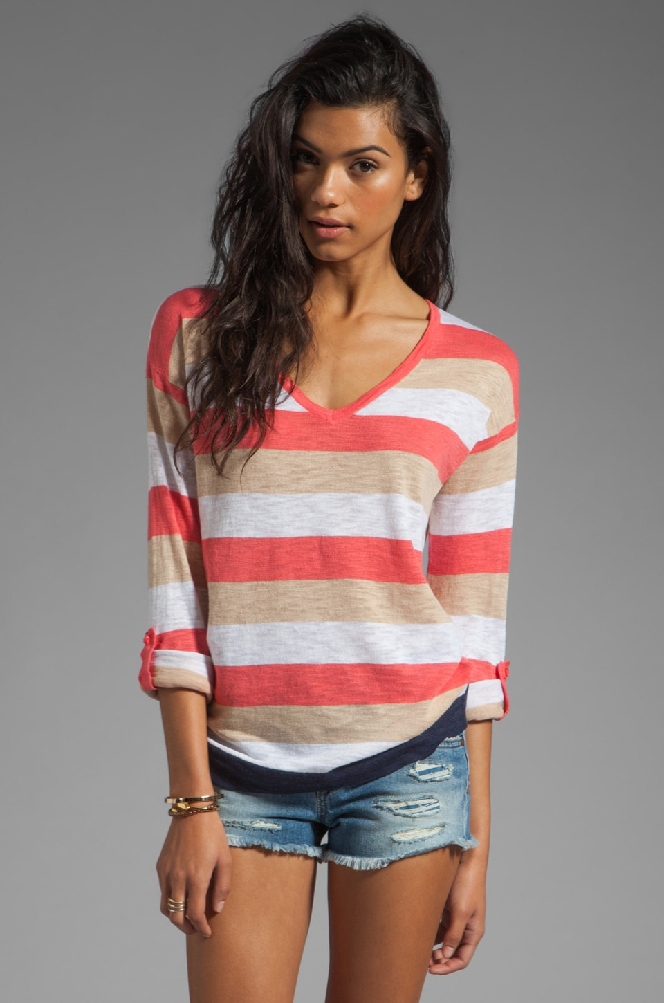 C&C California V-Neck Sweater in Gumball Pink