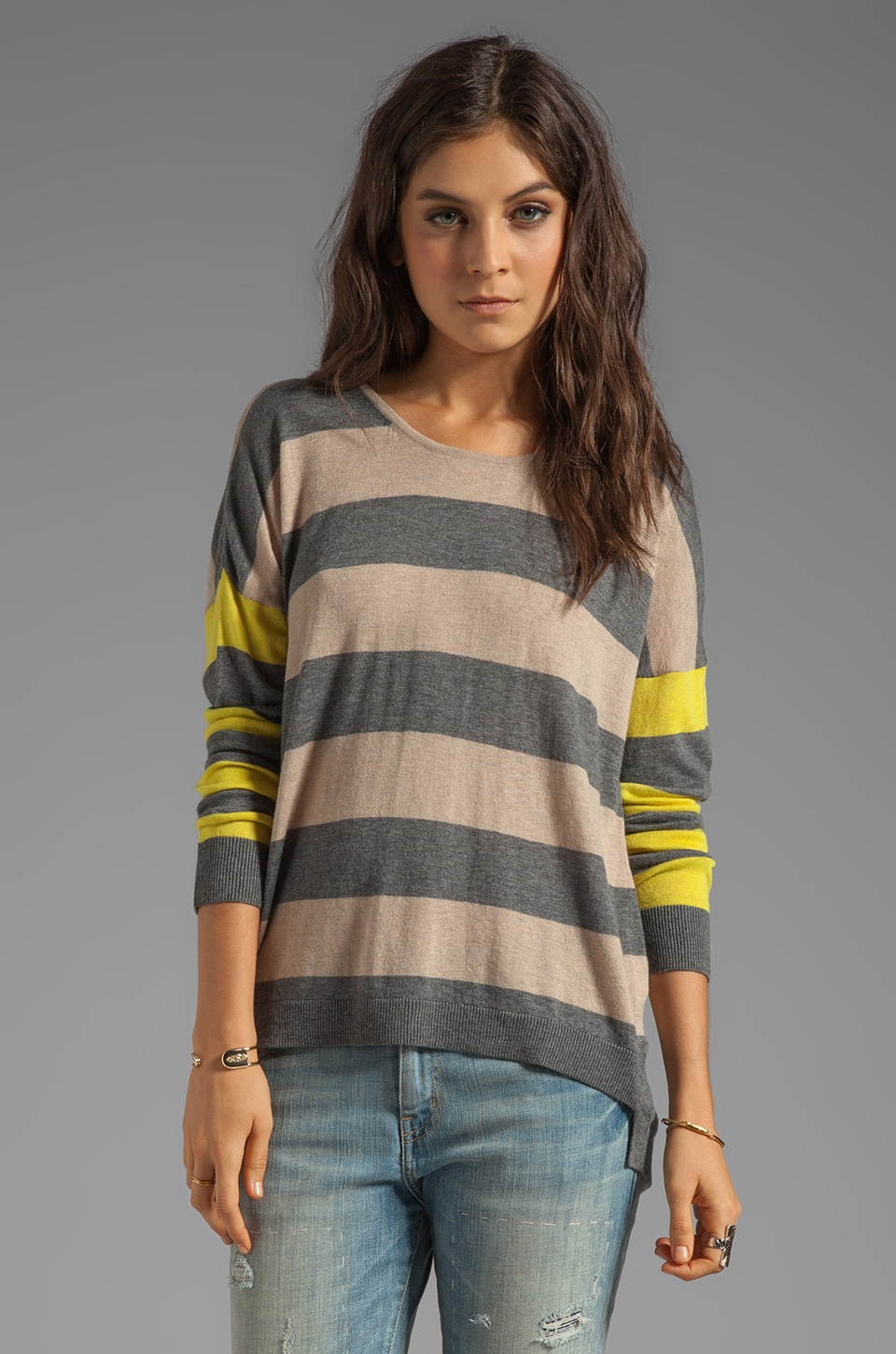 C&C California Cashmere Blend Stripe Sweater Hi-Lo Sweater in Oatmeal