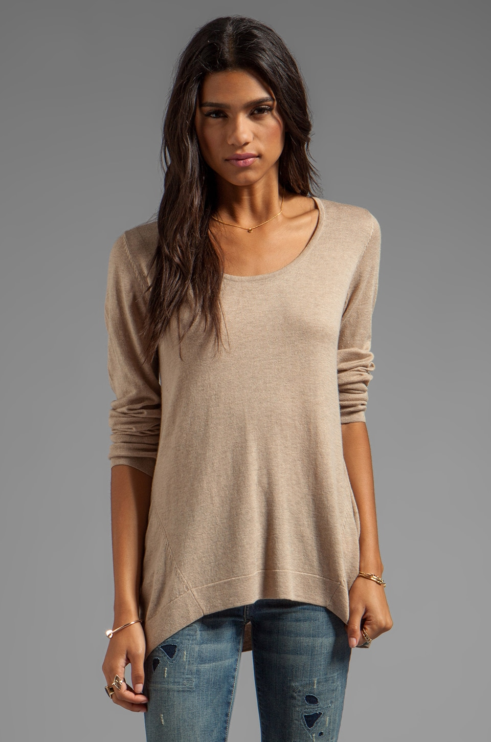 C&C California Solid Cashmere Blend Sweater in Oatmeal Heather