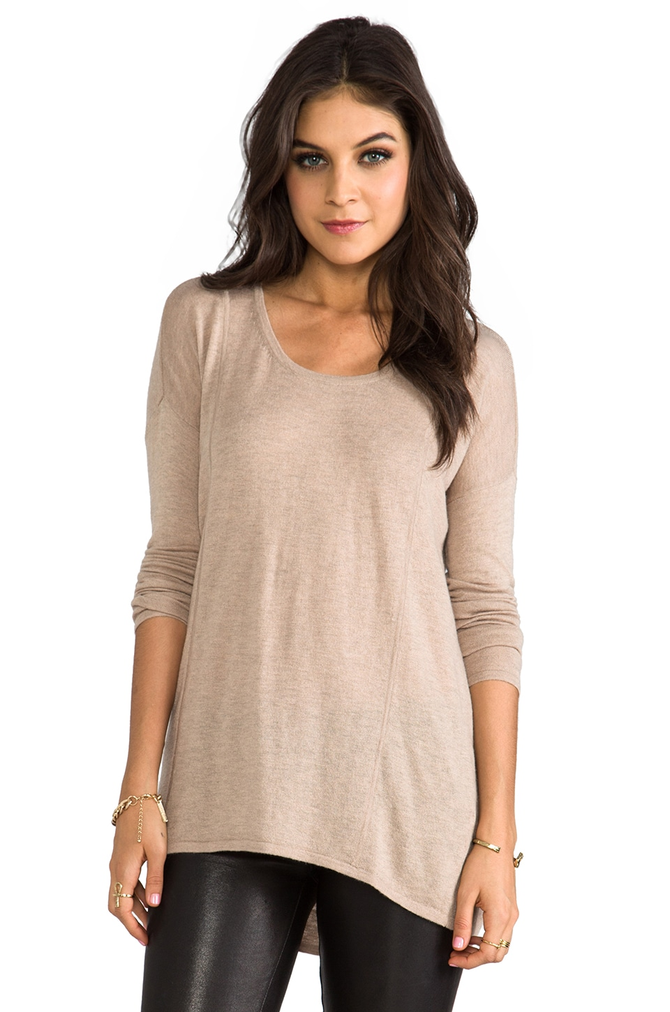C&C California Long Sleeve Hi-Low Cashmere Blend Sweater in Oatmeal