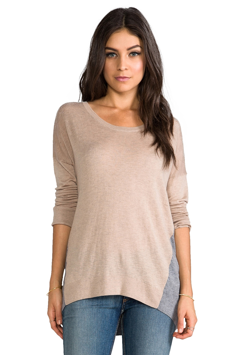 C&C California Colorblock Sweater in Oatmeal Heather