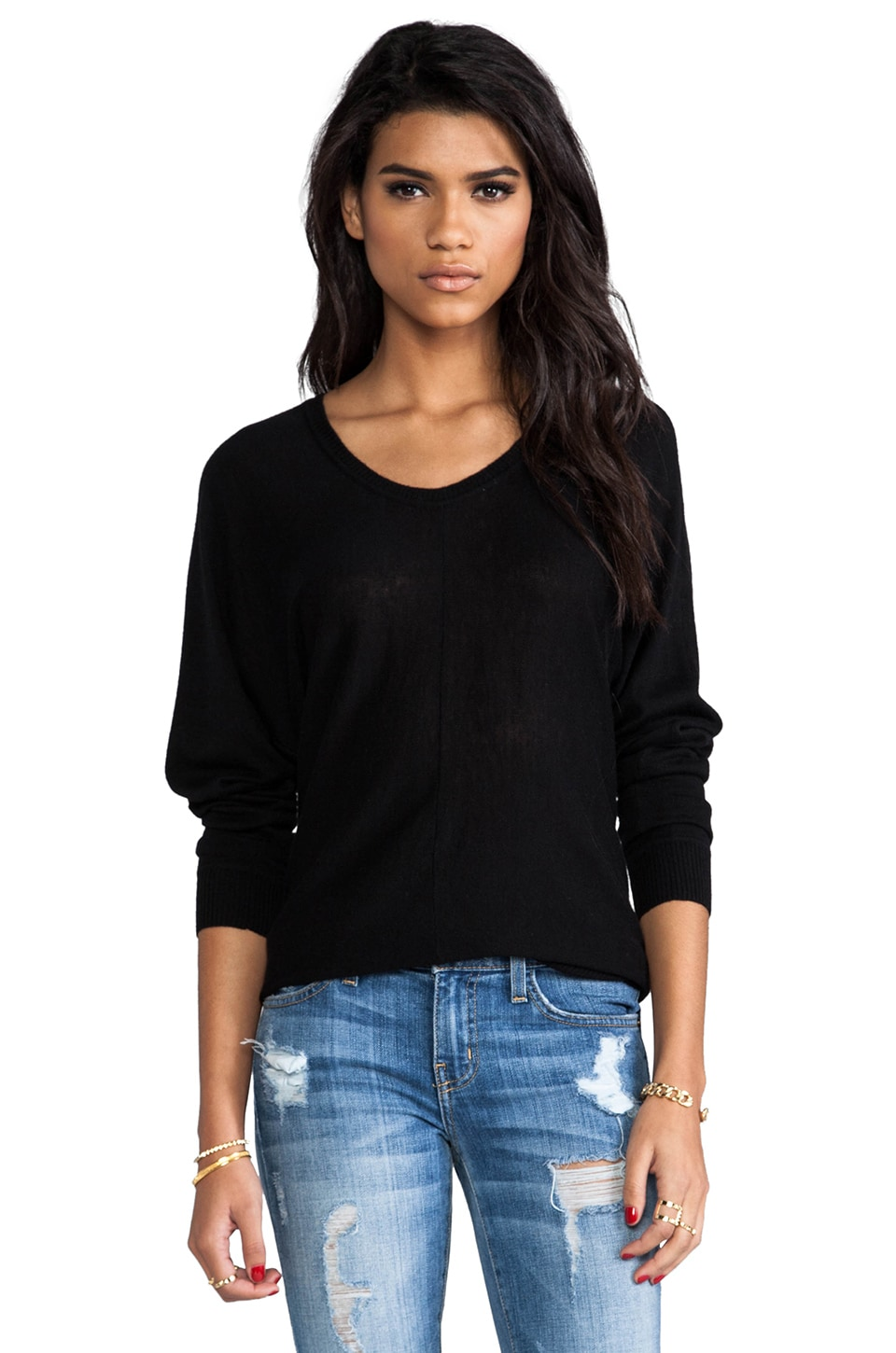 C&C California Crew Neck Dolman in Black