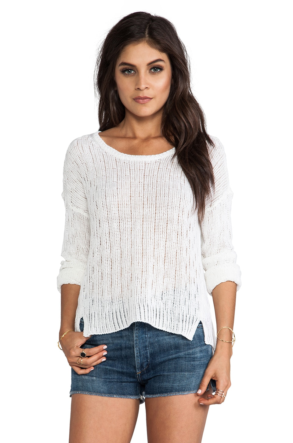 C&C California Long Sleeve Cropped Sweater in White