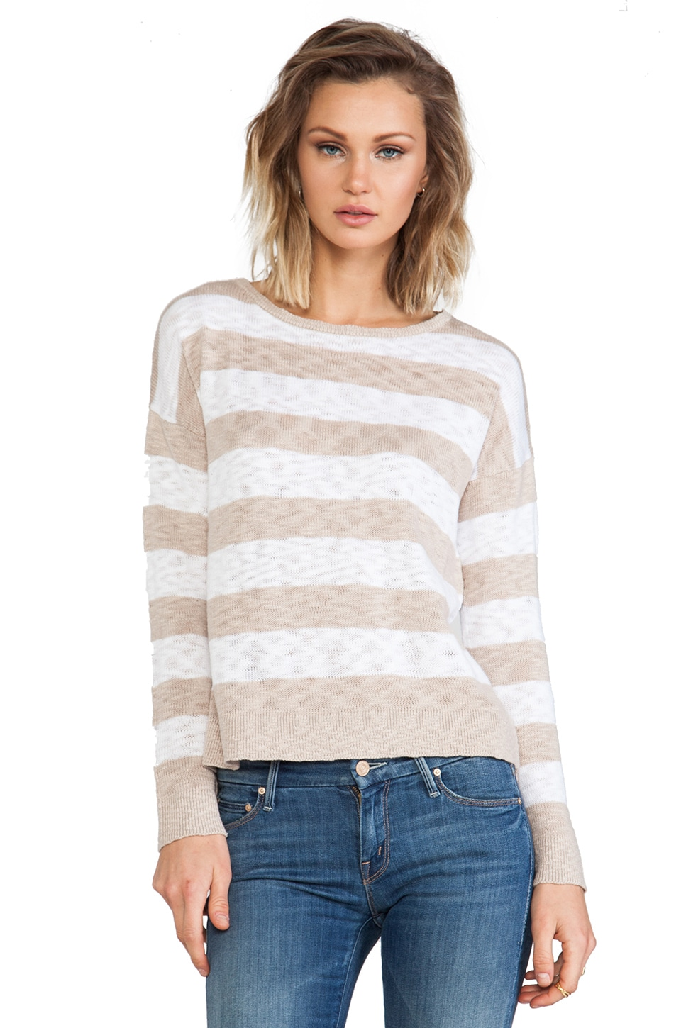 C&C California Striped Sweater in Sand