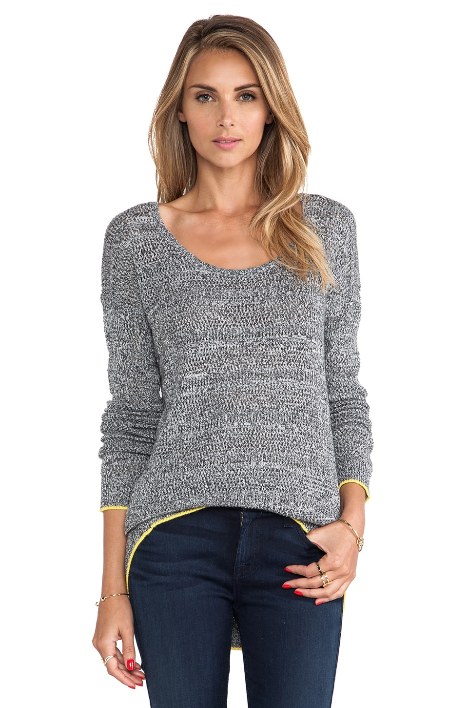 C&C California Angora Mesh Sweater in Heather Grey