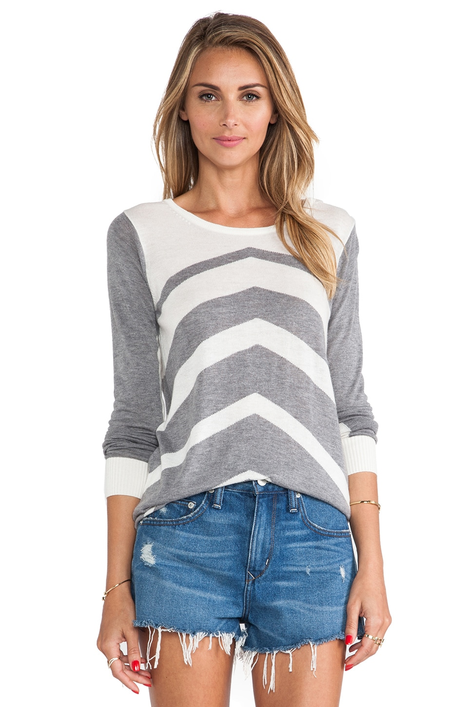C&C California Chevron Stripe Sweater in White