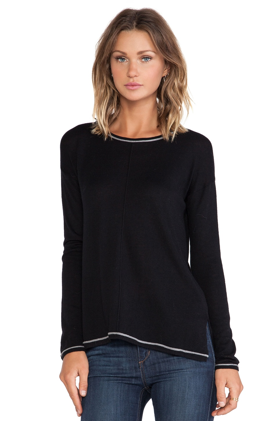 C&C California Side Slit Sweater in Black