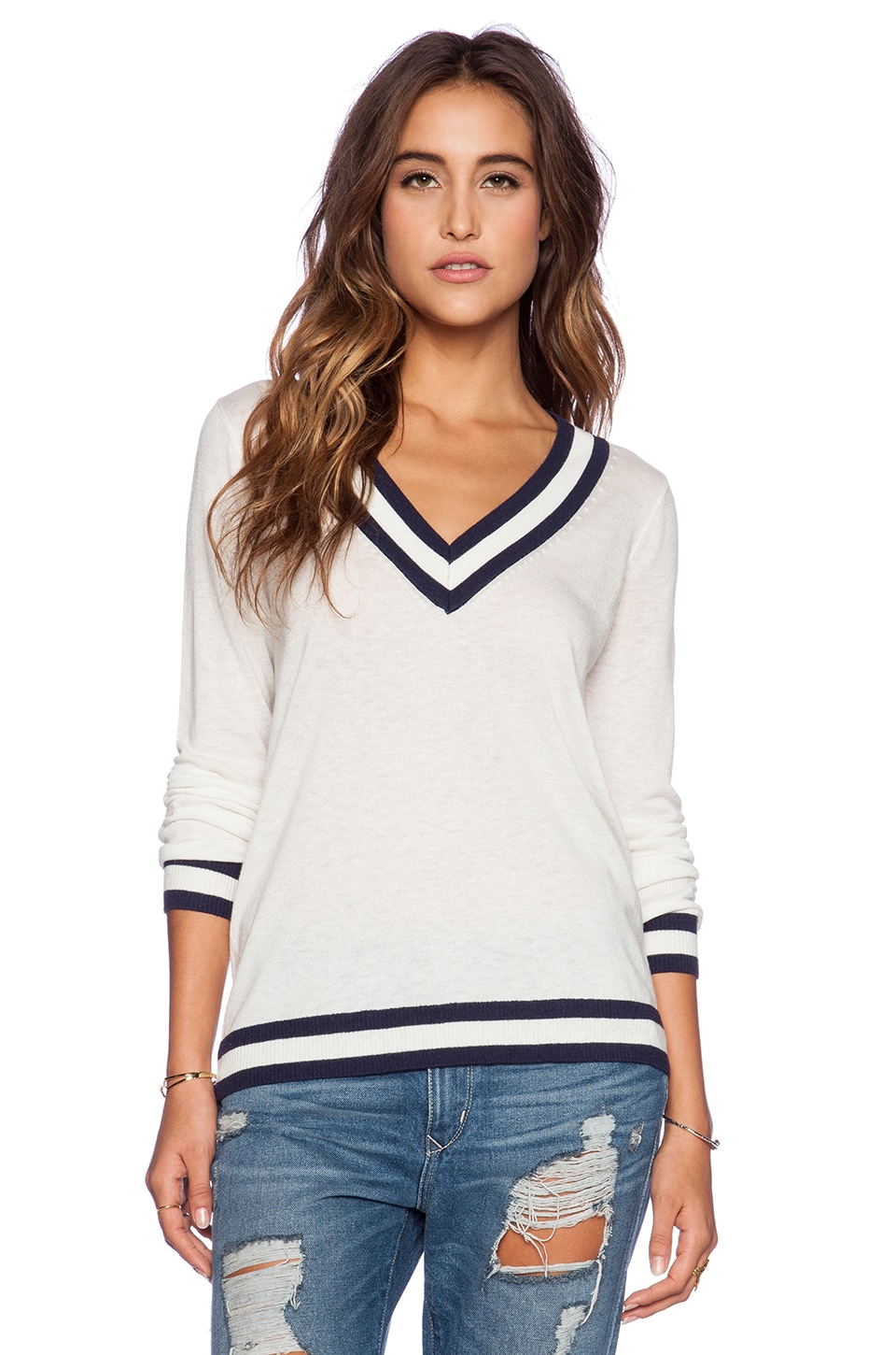 C&C California V Neck Tipped Sweater in White