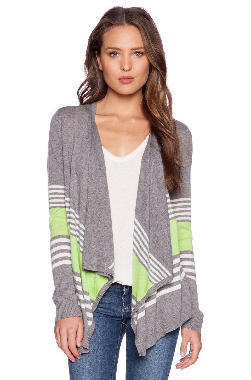 C&C California Mixed Stripe Cardigan in Light Heather Grey