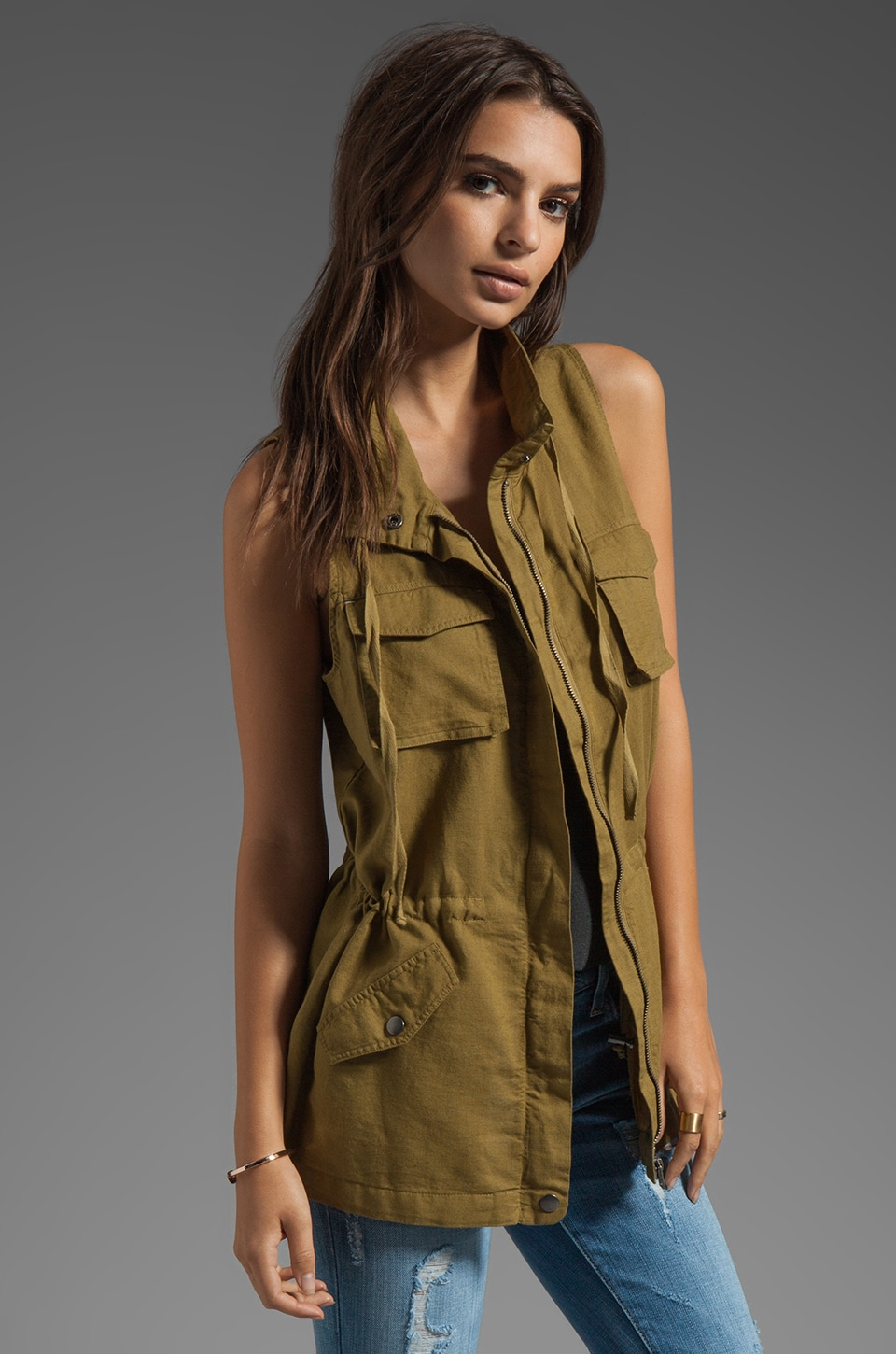 C&C California Linen Cotton Safari Vest in Nutria