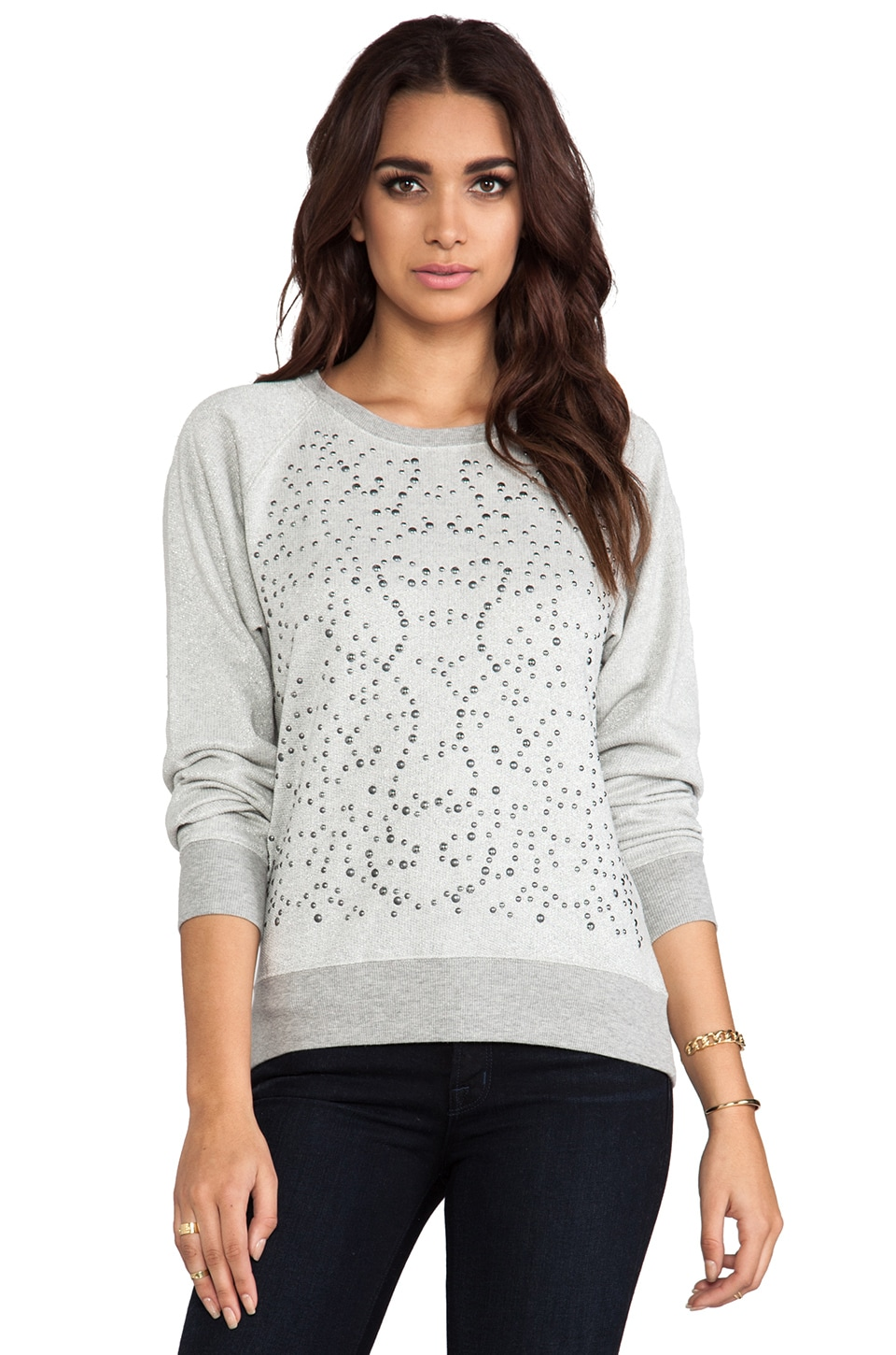 C&C California Lurex French Terry Long Sleeve Embellished Sweatshirt in Heather Grey