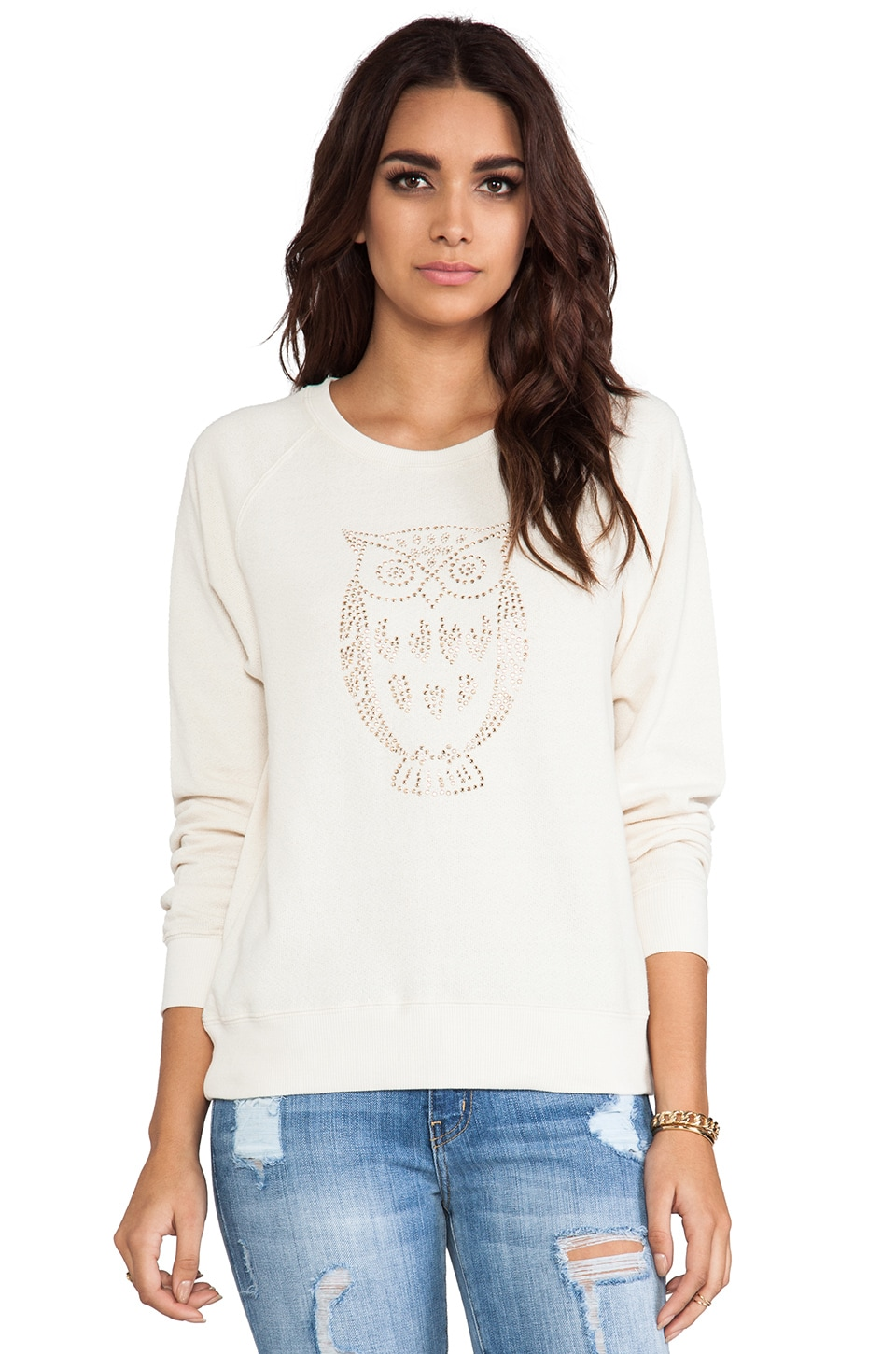 C&C California Heat Seal Crepe French Terry Embellished Sweatshirt in Vanilla