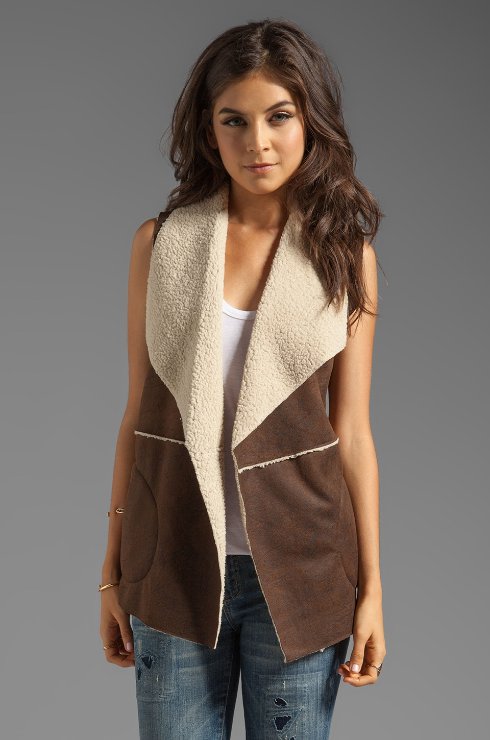 C&C California Distressed Faux Shearling Vest in Coffee