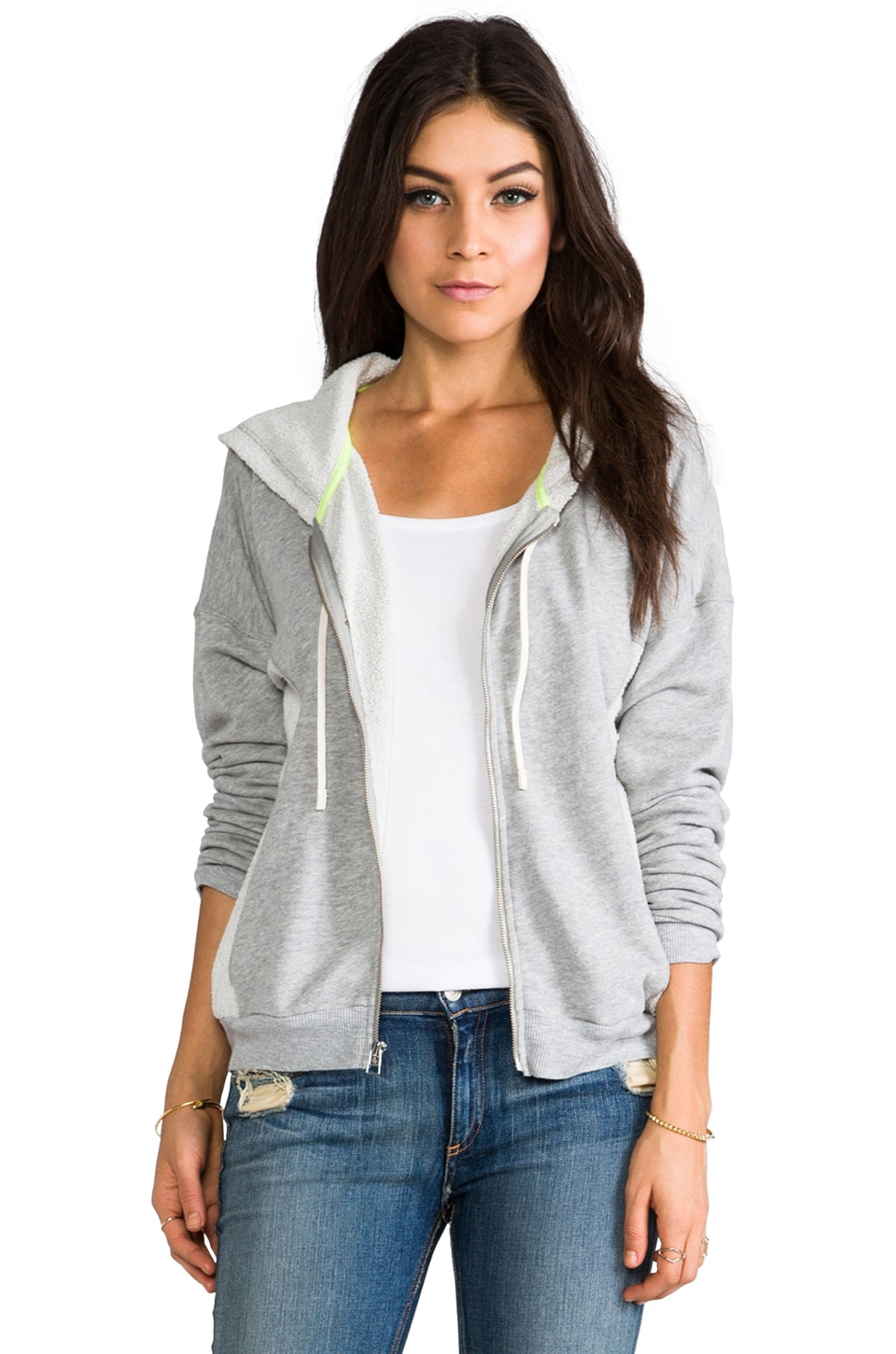 C&C California Drop Shoulder Zip Up Hoodie in Heather Grey