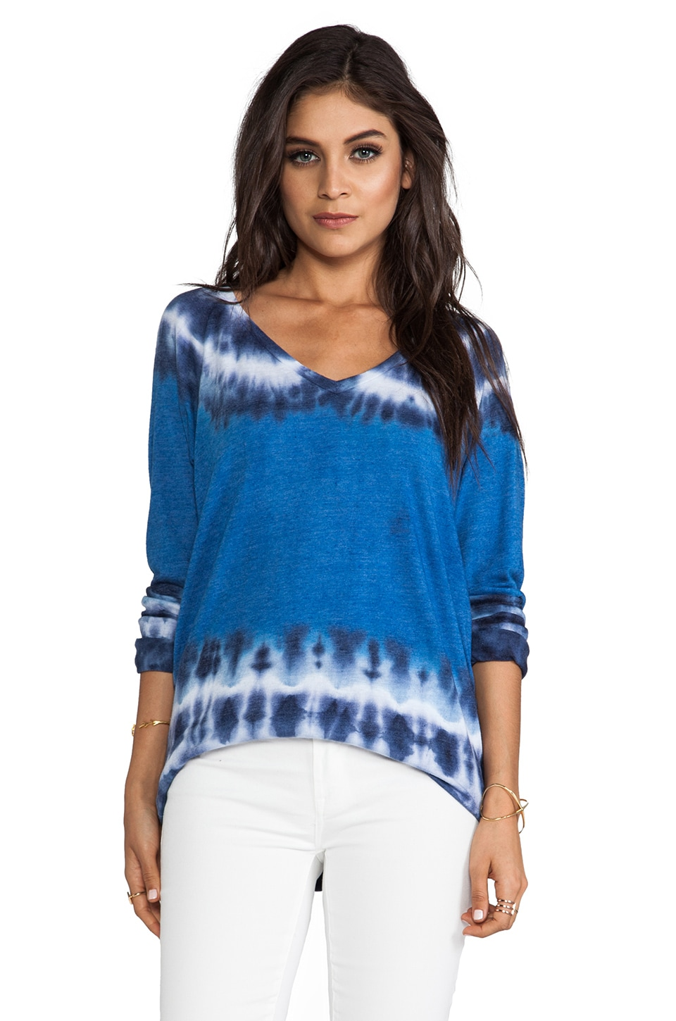 C&C California V-Neck Raglan Sweatshirt Tie Dye in Mirage