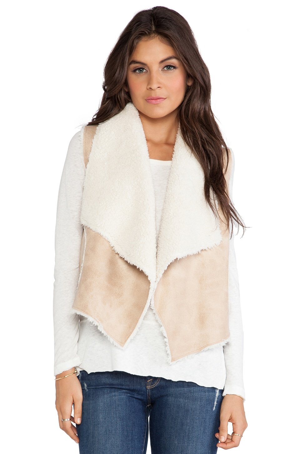 C&C California Faux Sherpa Vest in Tannin
