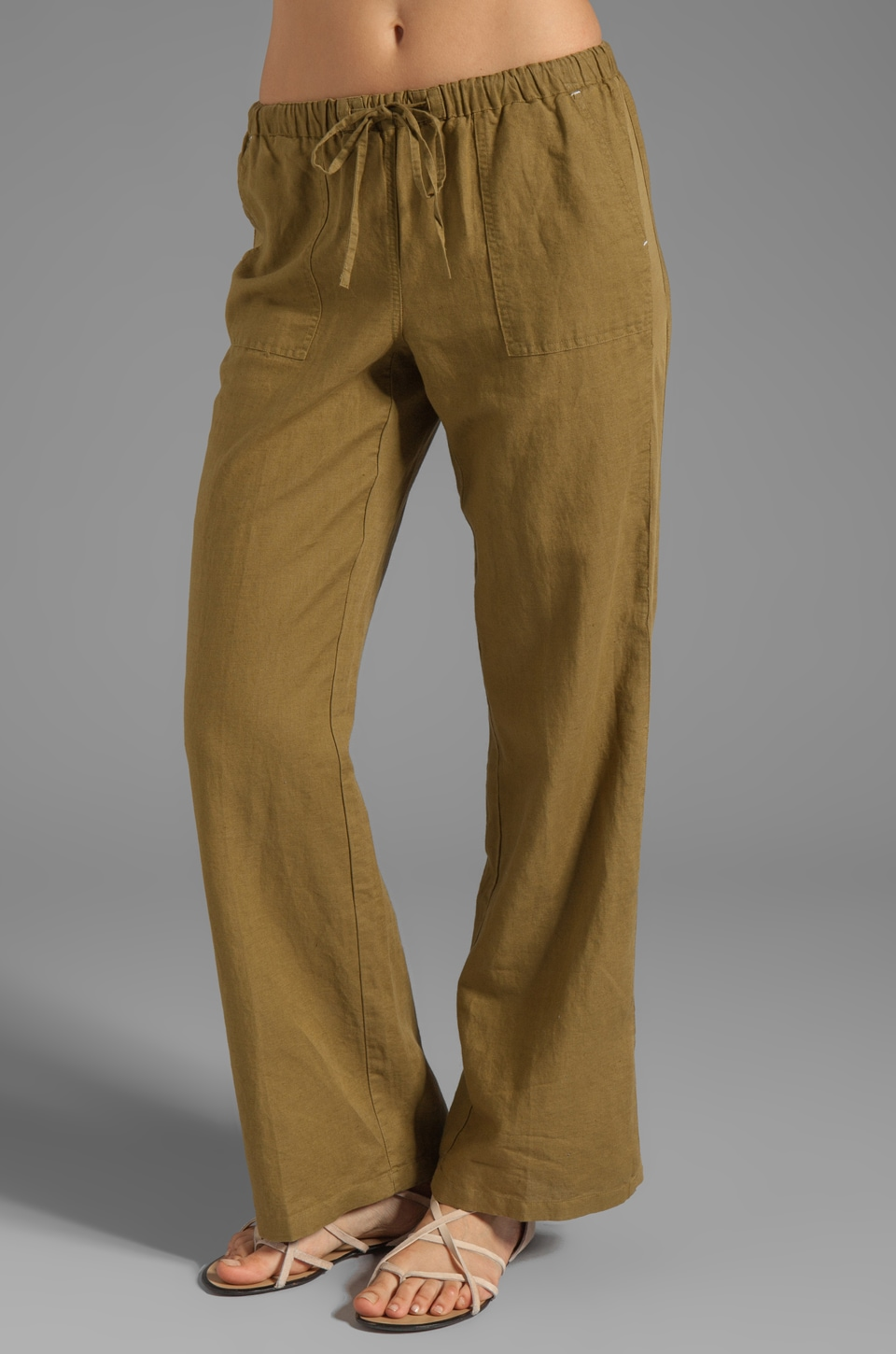 C&C California Linen Cotton Straight Leg Pant in Nutria