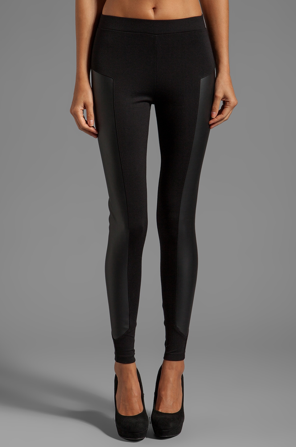 C&C California x Stephanie Ponte Legging With Leather Panel in Black