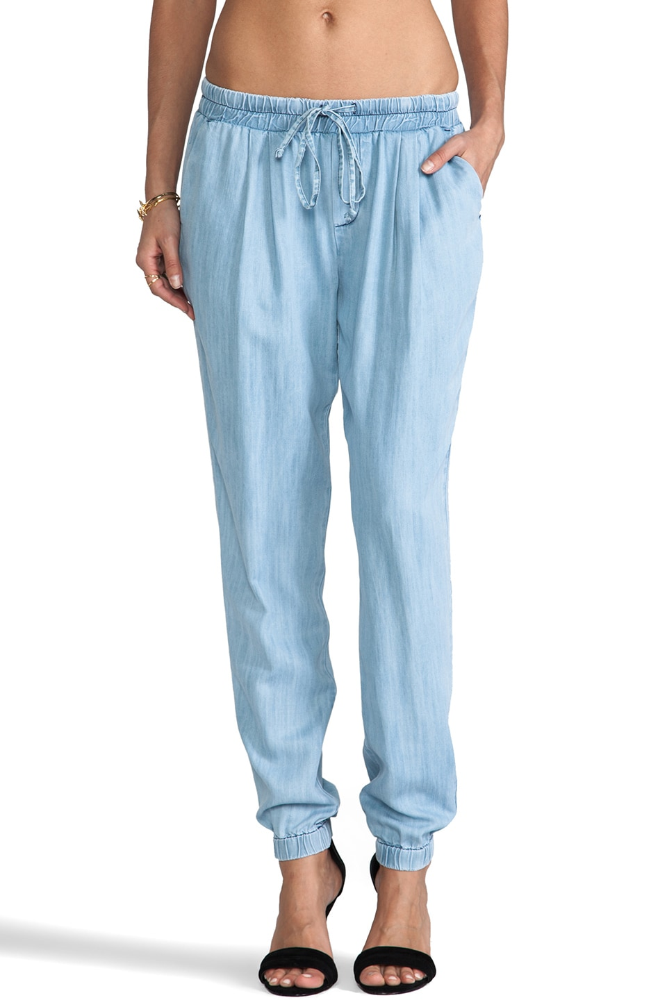 C&C California Textured Chambray Pants in Chambray Multi