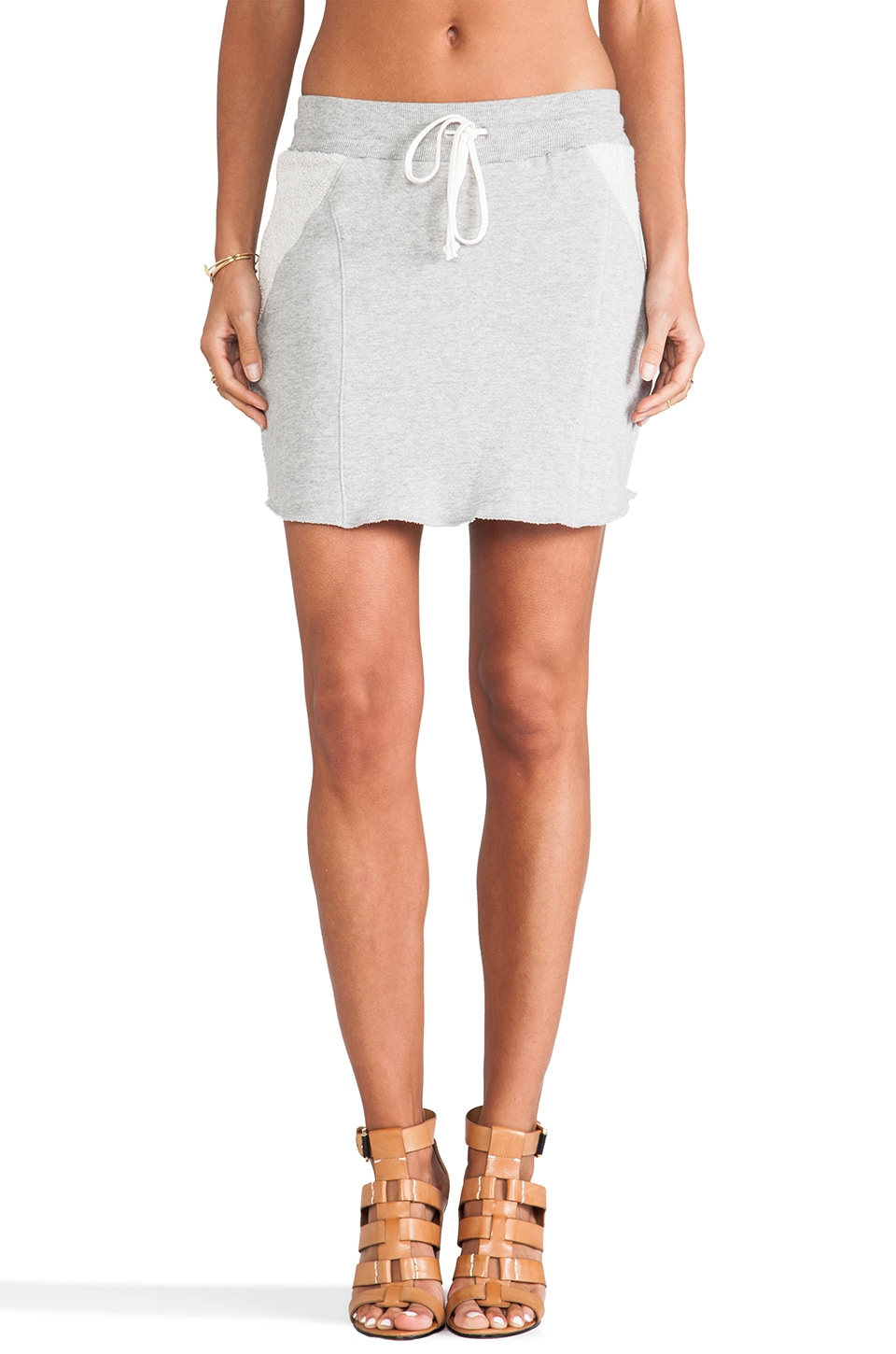 C&C California French Terry Skirt in Heather Grey