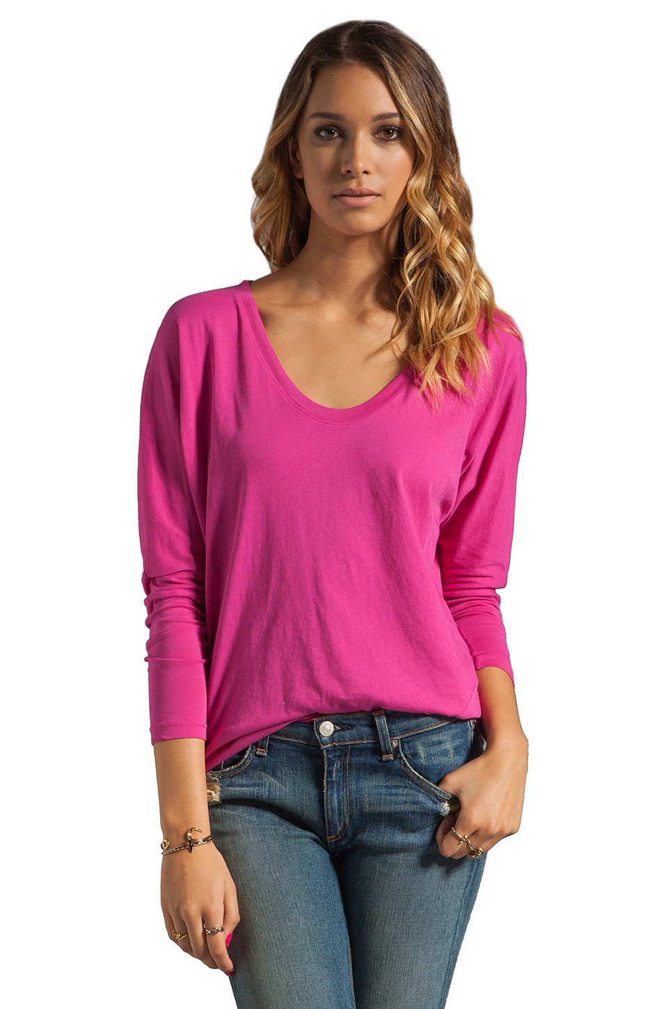 C&C California Long Sleeve Dolman Twist Tee in Very Berry