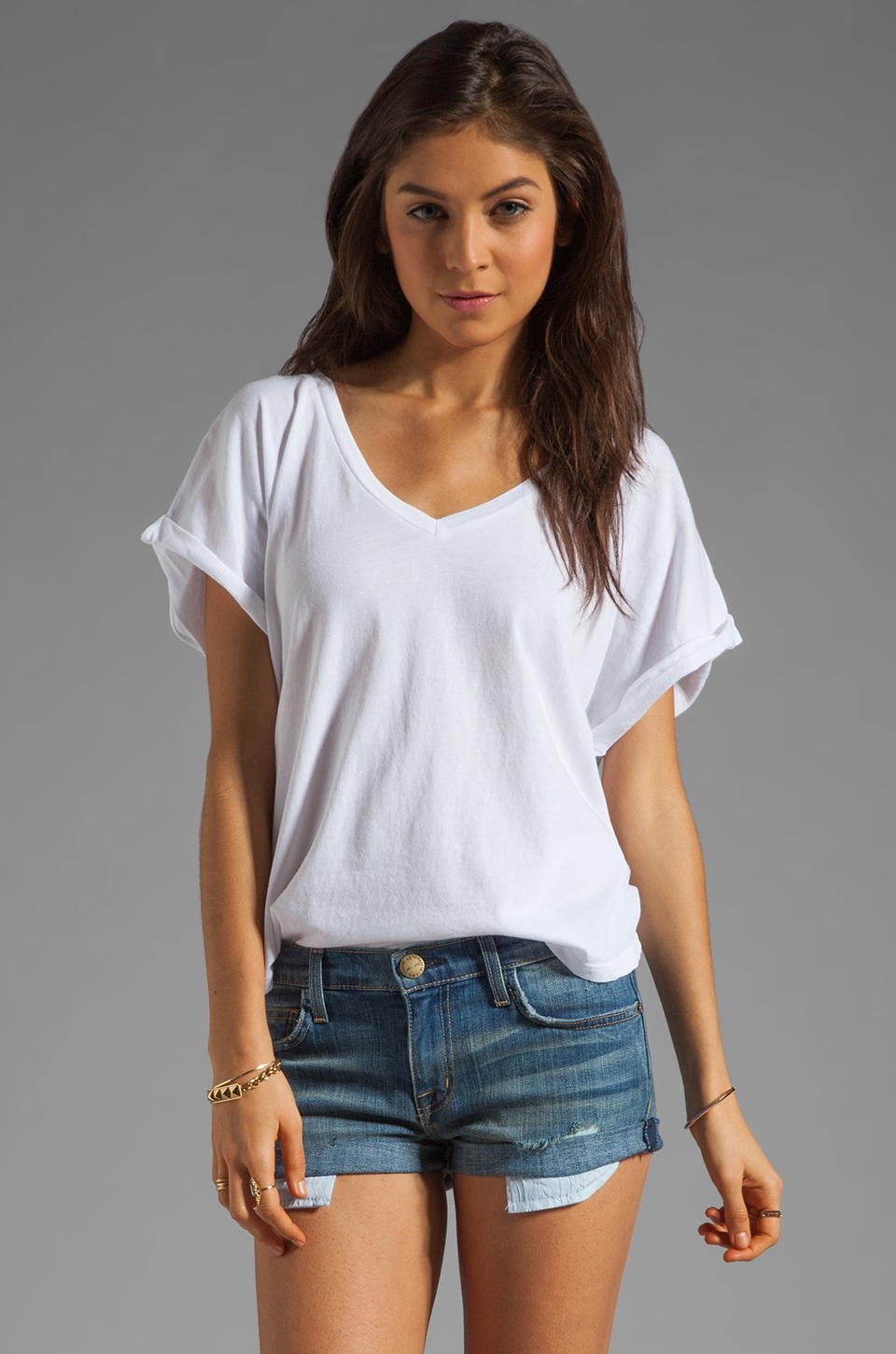 C&C California Cap Sleeve Double V-Neck Tee in White