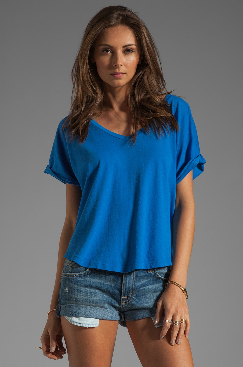 C&C California Cap Sleeve Double V-Neck Tee in French Blue