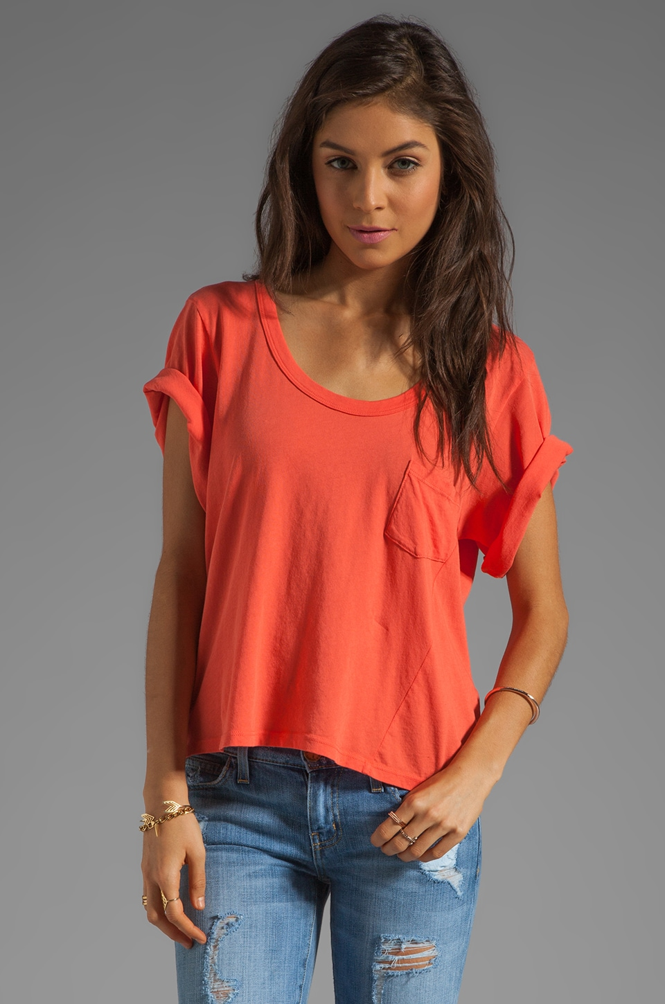 C&C California Drape Sleeve Cut-Out Back Box Tee in Geranium