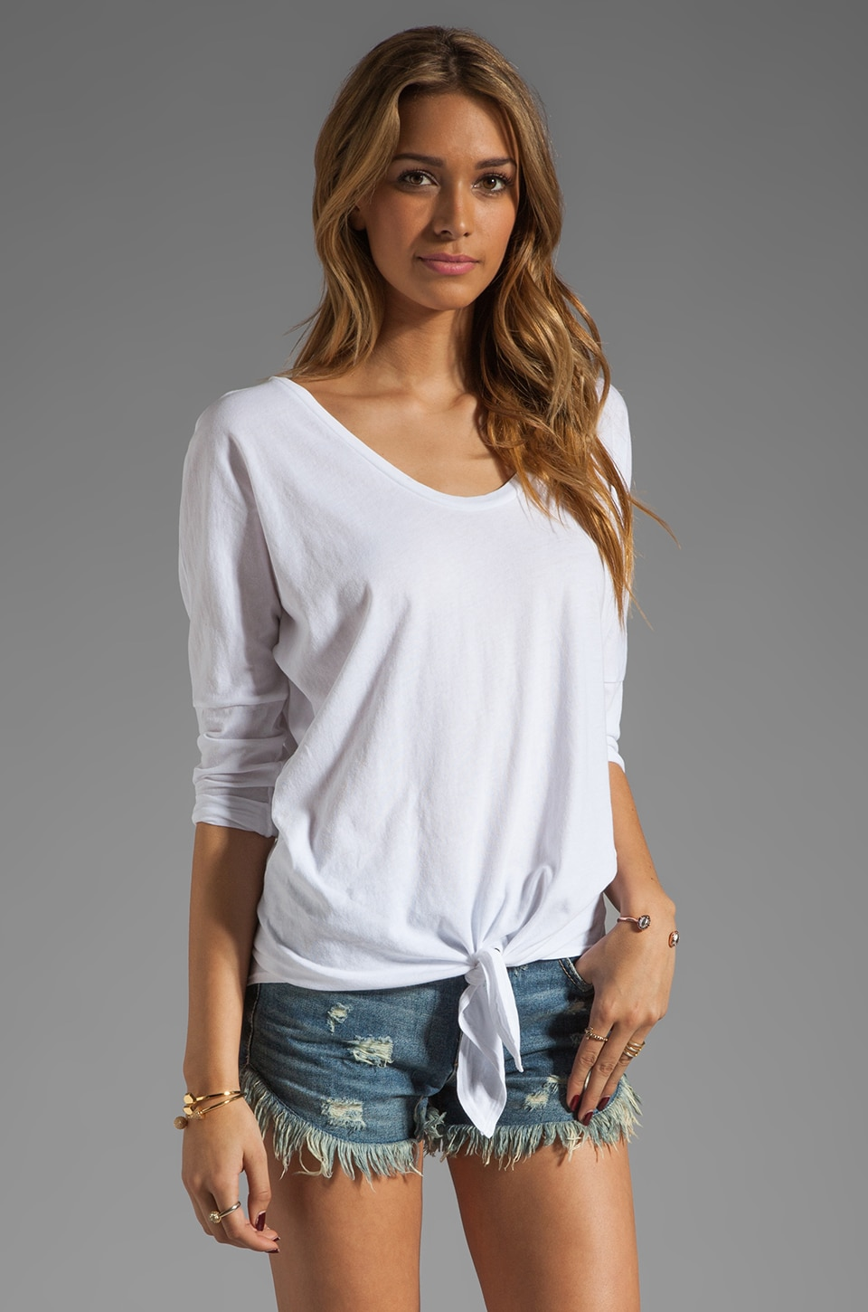 C&C California 3/4 Sleeve Dolman Tie-Front Tee in White