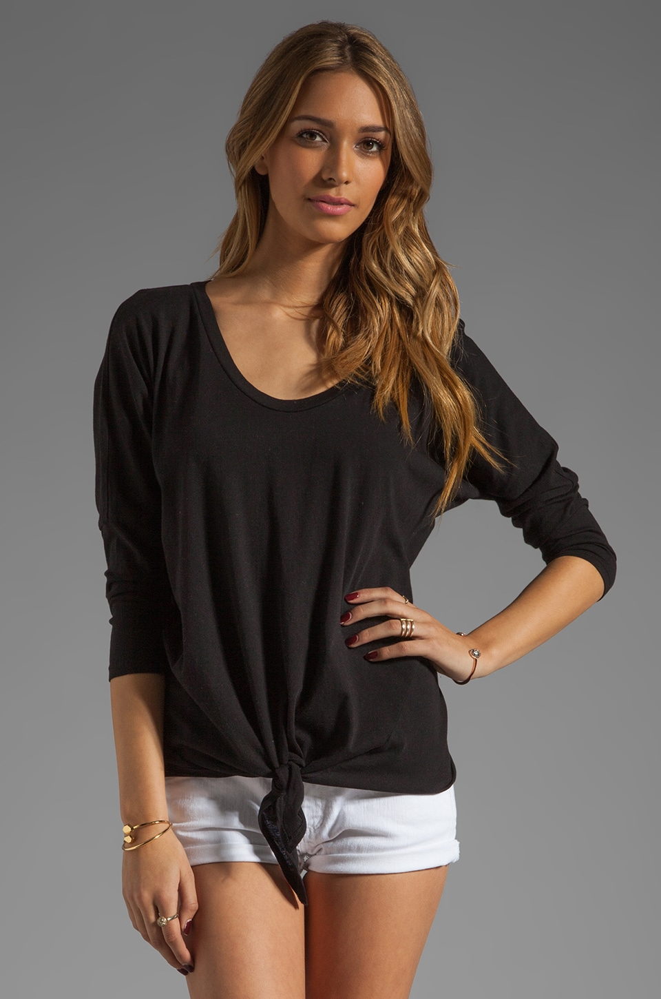 C&C California 3/4 Sleeve Dolman Tie-Front Tee in Black