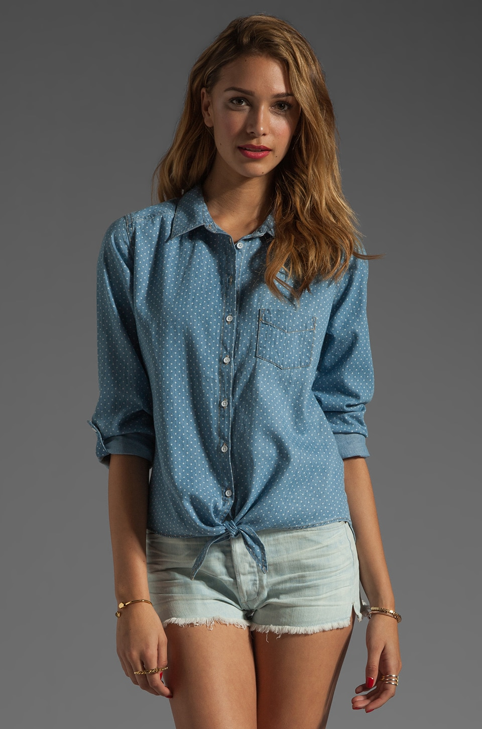 C&C California Roll Sleeve Tie Front Shirt in Chambray Multi