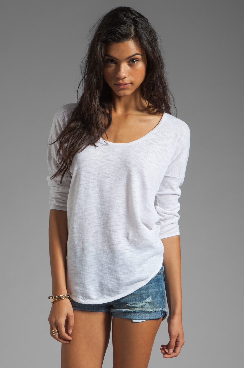 C&C California Dolman Tail Shirt in White