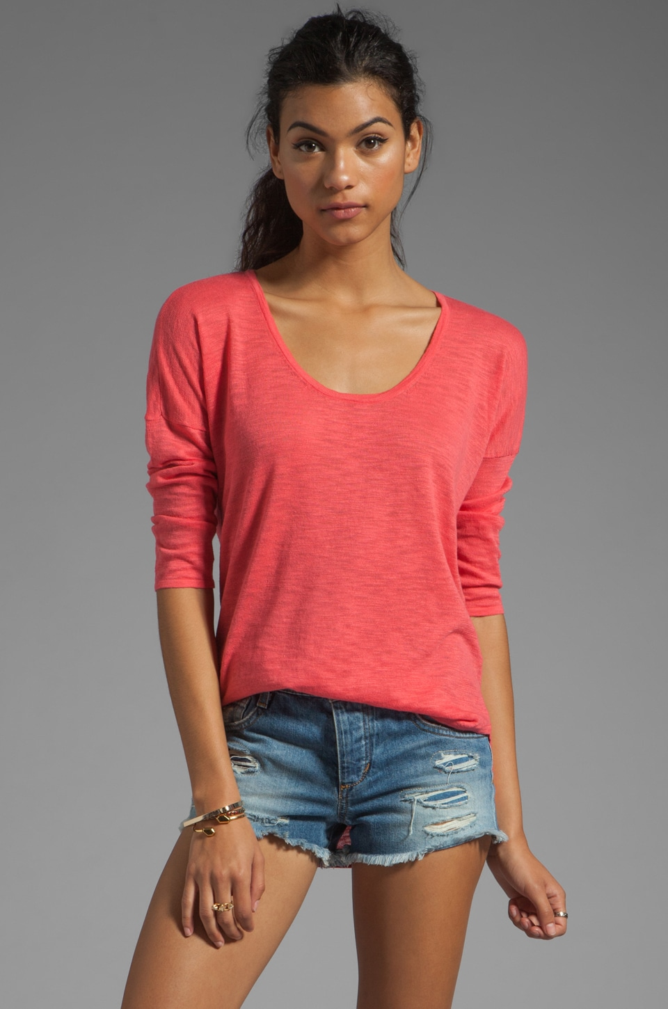 C&C California Dolman Tail Shirt in Gumball Pink