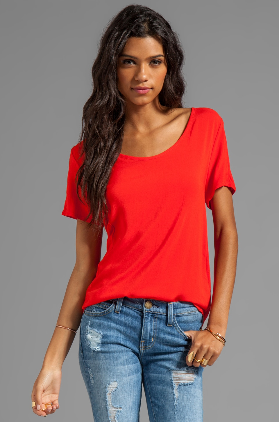C&C California Woven/Knit Mix Short Sleeve Shirt Tail Top in Solar Red