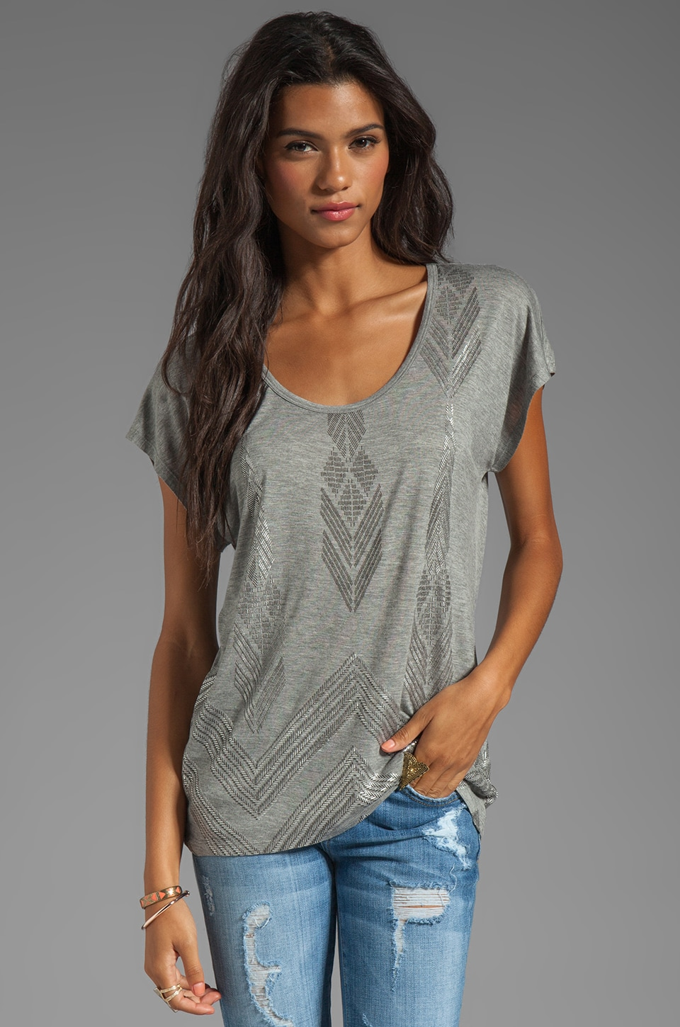 C&C California Foil Heather Grey Viscose Jersey Short Sleeve Hi-Lo Dolman Top in Heather Grey