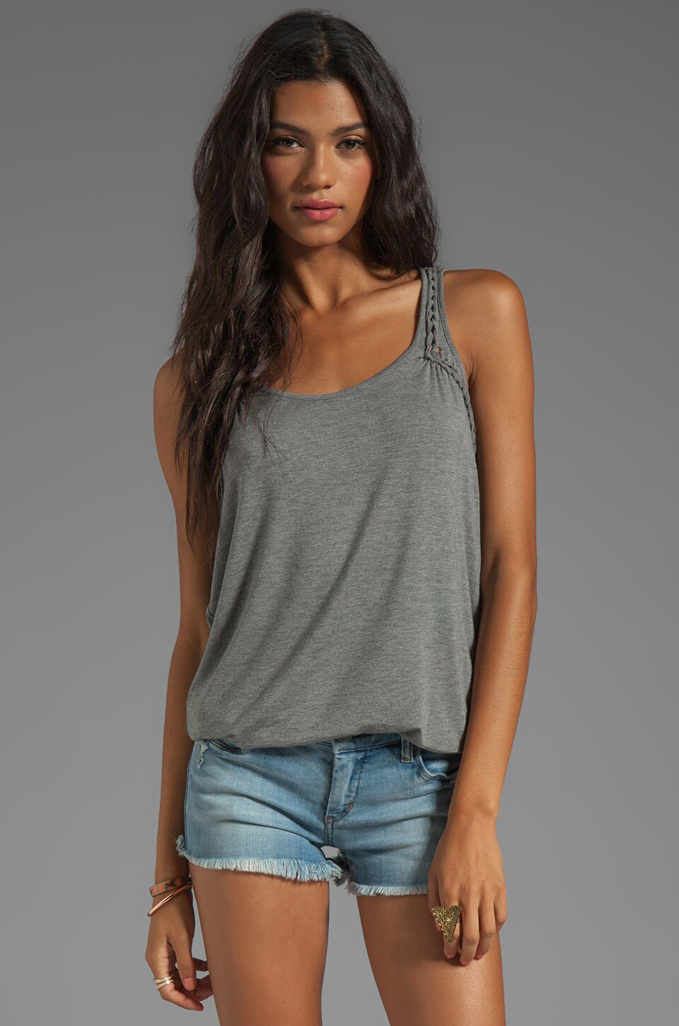 C&C California Stretch Rayon Jersey with Roping Tank in Slate Heather Grey