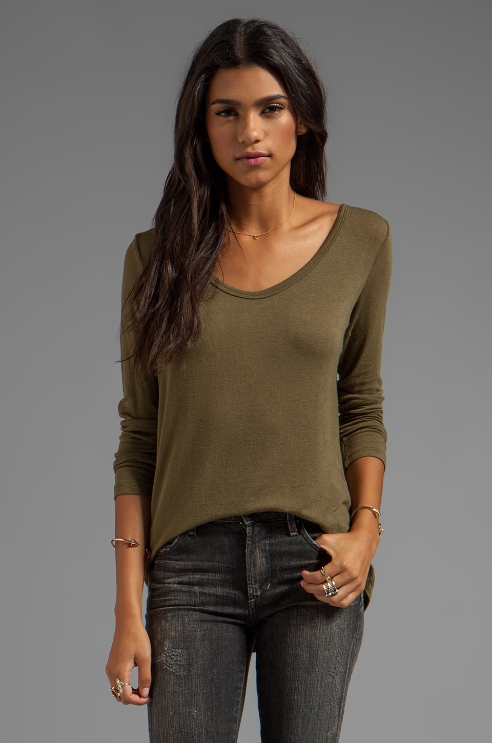 C&C California Stretch Luxe Knit Long Sleeve Hi-Lo Tee in Dark Olive