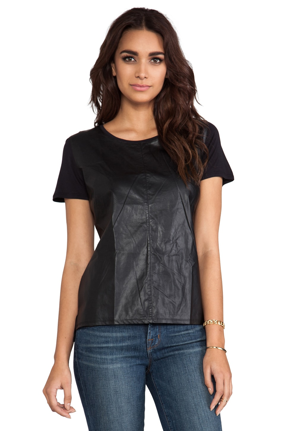 C&C California Light Weight Faux Leather/Knit Mix Tee in Black