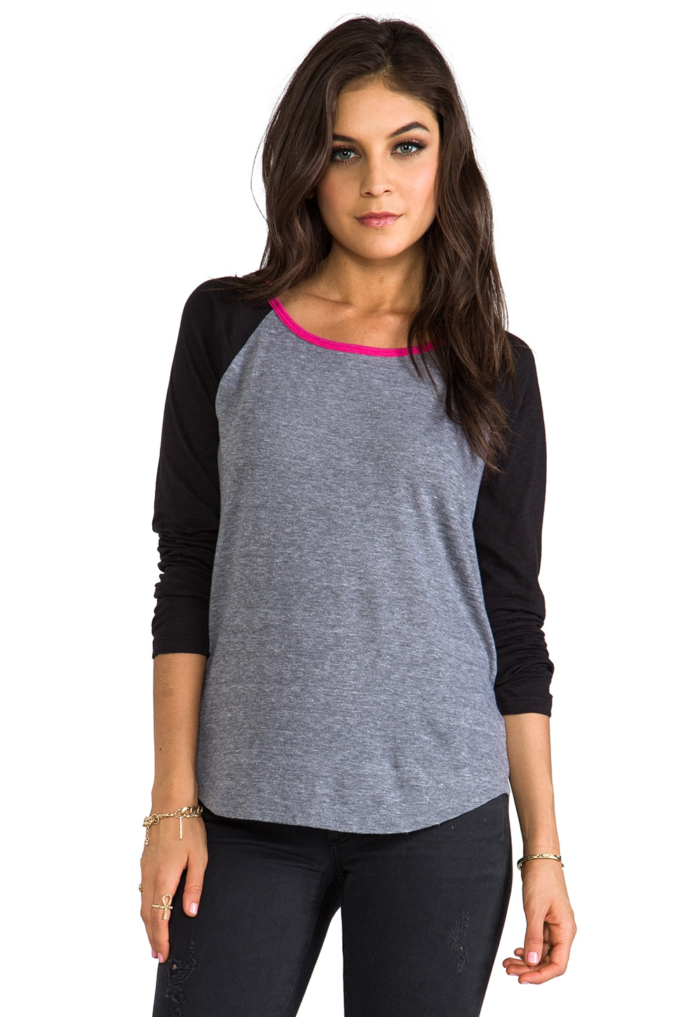 C&C California LS Triblend Jersey Mixed Baseball Tee in Heather Grey