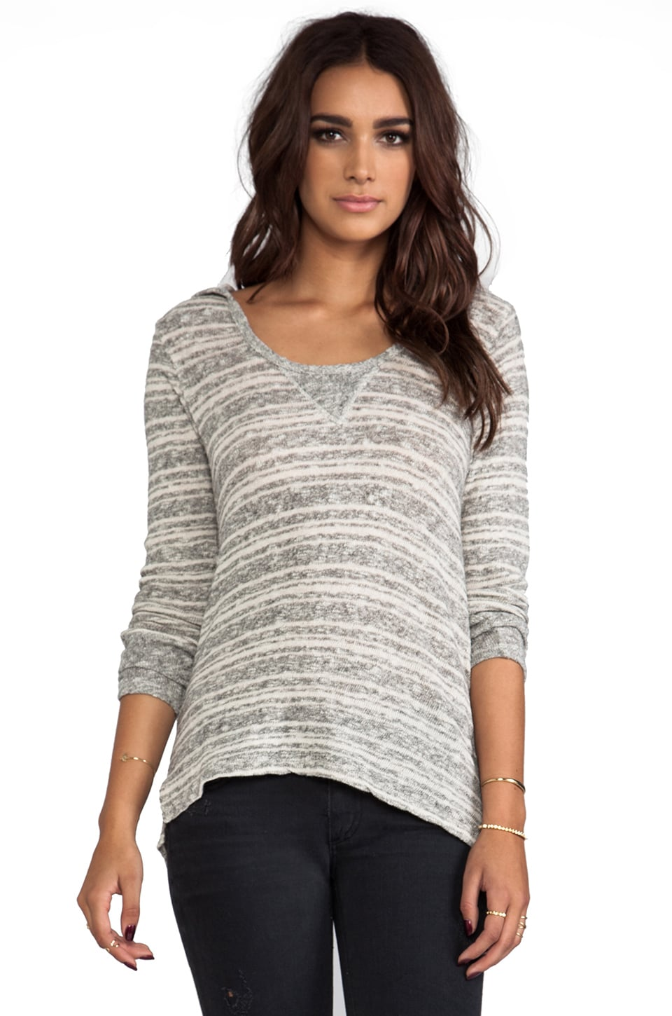 C&C California Long Sleeve Strip Dolman Hoodie in Heather Grey
